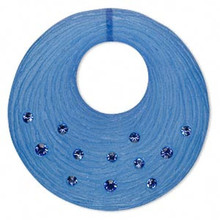 1 Sapphire & Frosted Dark Blue Resin 41x40mm Round Go-Go Bead Made with Swarovski Crystals *