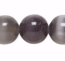 1 Strand Black Cat's Eye Fiber Optic Glass 6mm Round Grade A Beads