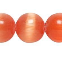 1 Strand Orange Cat's Eye Fiber Optic Glass 6mm Round Grade A Beads