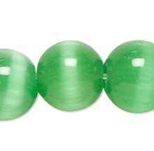 1 Strand Green Cat's Eye Fiber Optic Glass 6mm Round Grade A Beads
