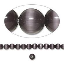 1 Strand Black Cat's Eye Fiber Optic Glass 4mm Round Grade A Beads