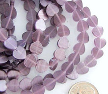 1 Strand Lavender Cat's Eye Fiber Optic Glass 8x8mm Flat Heart Beads *