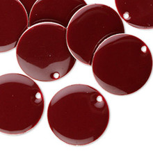 12 Silver Plated  & Burgundy Enamel 18mm Round Charms *