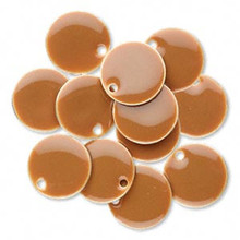 12 Silver Plated  & Camel Enamel 12mm Round Charms *