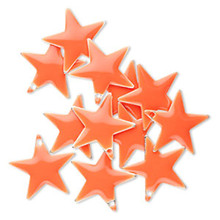 12 Silver Plated & Orange Enamel 17x17mm STAR Charms *