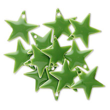 12 Silver Plated & Nephrite Green Enamel 12x12mm STAR Charms *