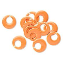 12 Silver Plated & Orange Enamel 17mm Round GO GO Charms  *