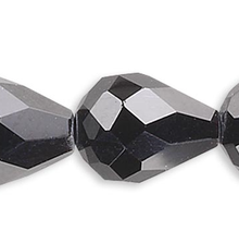 1 Strand Black 8x6mm Teardrop 56 Facets Crystal Beads