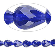 1 Strand Cobalt Blue 8x6mm Teardrop 56 Facets Crystal Beads *