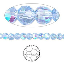 1 Strand AB Light Blue 4mm Round Crystal 32 Facets Glass Beads *