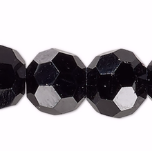 1 Strand Black Crystal Glass 32 Facets 6mm Round Beads
