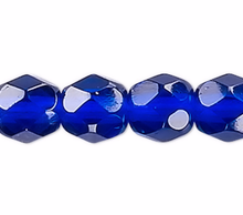 1 Strand Cobalt Blue Czech Fire Polished 4mm Faceted Round Glass Beads