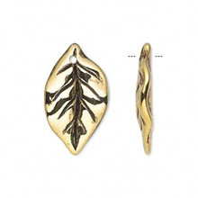 50 Grams Antiqued Gold Metalized Plastic 25x15mm Leaf Charms *