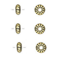 50 Grams Antiqued Gold Metalized Plastic 8x4mm Rondelle Beads