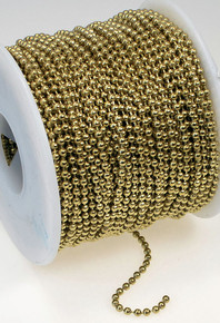 100 Foot Spool Gold Brass Steel Bulk 2.4mm Ball Chain