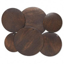 3 Pair Boxwood Dark Brown Dyed Assorted 40-60mm Wood Flat Round Disc Focals