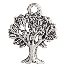 20 Antiqued Silver Pewter 18.5x16.5mm Tree Charms