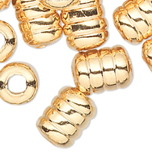 100 Gold Plated Brass 5x4mm Ribbed Corrugated Tube Beads