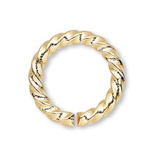 100 Gold Plated Brass 10mm Fancy Twisted 14 Gauge Jump Rings with 6.8mm ID