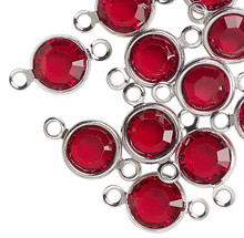 48 Silver Plated Brass 6.14-6.32mm Links with Swarovski Siam Red Crystals