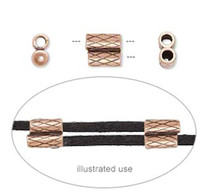 1 Antiqued Copper Plated Brass 2-Piece Set 7x6.5mm Slide Clasp Fits 2mm Cord