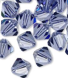 24 Swarovski Tanzanite 6mm Xilion Crystal Bicone Beads (5328)