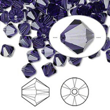24 Swarovski Purple Velvet 6mm Xilion Crystal Bicone Beads (5328)