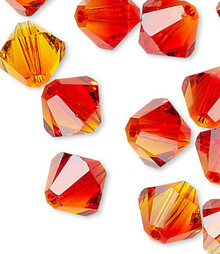 24 Swarovski Fire Opal 6mm Xilion Crystal Bicone Beads (5328)