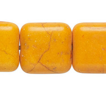 1 Strand Orange Magnesite Dyed & Stabilized 12x12mm Square Beads *