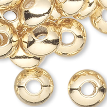 100 Gold Plated Brass 5x3mm Smooth Saucer Spacer Beads