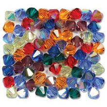 42 Preciosa Czech Crystal 3mm Rondelle Bicone Bead RAINBOW AB Mix
