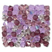 31 Preciosa Czech Crystal 4mm Rondelle Bicone Beads LILAC Mix