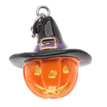 2 Adorable 3 Dimensional Resin Jack-O-Lantern with Hat Charms