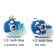 2 Adorable 3 Dimensional Resin Hand Painted Pink Dotted Blue Fish Charms