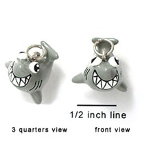 2 Adorable 3 Dimensional Resin Hand Painted Grey Happy Shark Charms
