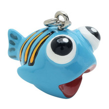 2 Adorable 3 Dimensional Resin Hand Painted Orange Striped Blue Fish Charms