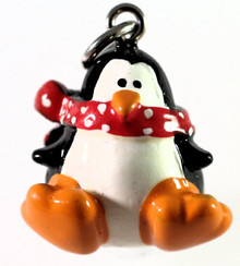 1 Pair Hand Painted Resin 3D Penguin with Scarf Charm Earrings