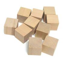 """100 Unfinished Wood 3/4"""" Hardwood Straight Edge Square Block Cubes"""