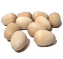 "100 Unfinished Wood 3D Hardwood 7/8"" x 5/8"" Wren Eggs"