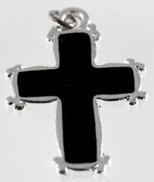1 Silver Plated Brass & Black Enamel 17x23mm Cross Charm *