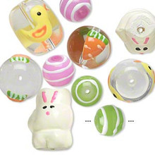 10 Spring Hand Painted Easter-Themed Designs Chick Bunny Carrot Glass Beads