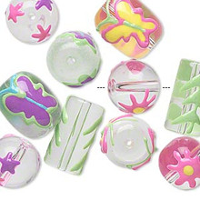 10 Spring Hand Painted Flower Butterfly & Star Glass Beads