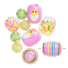 10 Spring Hand Painted Easter-Themed Designs Chick Butterfly Glass Beads