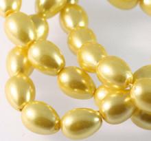 1 Strand Sun Yellow Glass Based Pearl 9x7mm Teardop Beads *