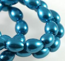 1 Strand Dark Aqua Glass Based Pearl 9x7mm Teardop Beads *