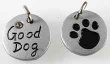 """1 Silver Resin 16mm Round Paw Print Crystal with """"Good Dog"""" Charm *"""