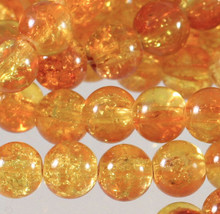 1 Strand Orange Yellow Crystal Crackle Glass 8mm Round Beads *