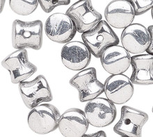 50 Czech Pressed Glass Shiny Silver 6x4mm Pellet Beads