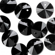 16 Opaque Black Glass 14mm Faceted Rivoli Saucer Beads