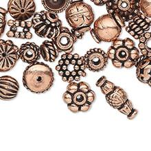 100 Antiqued Copper 4x1mm-11x5mm Bead & Bead Cap Mix